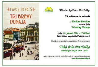 Pozývame Vás na besedu o knihe -Tri brehy Dunaja