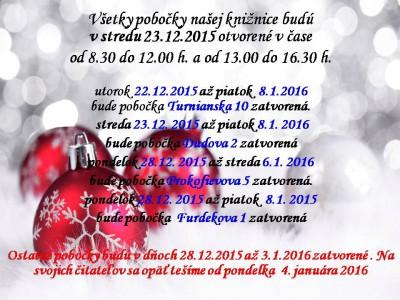 Otváracie hodiny pobočiek knižnice počas vianočných sviatkov