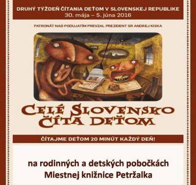 Celé Slovensko číta deťom 20 min. denne aj v našej knižnici