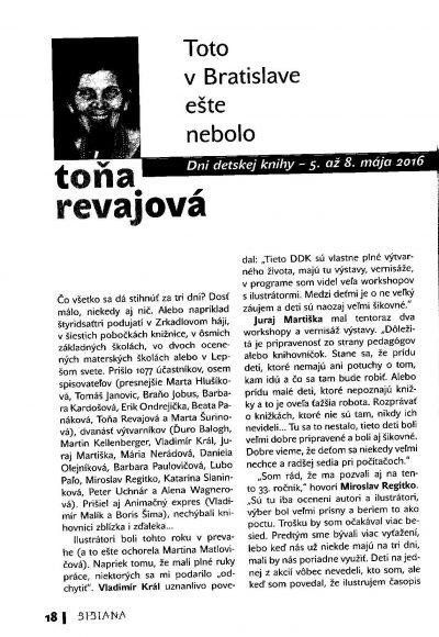 Toto v Bratislave ešte nebolo- článok Toni Revajovej k Dňom detskej knihy 2016 v Petržalke