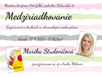 Medziriadkovanie s Marikou Studeničovou