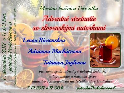 Adventné stretnutie so slovenskými autorkami. Otvárame spolu advent.