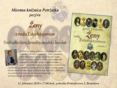 Ženy z rodu Esterházyovcov- prednáška Anny Jónásovej