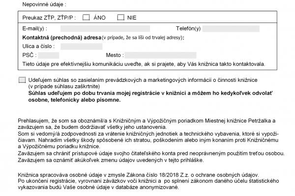 Vzor čitateľskej prihlášky Miestnej knižnice Petržalka na stiahnutie