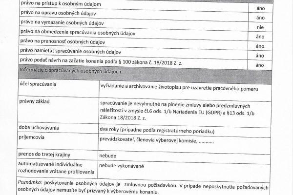 Informácia o spracovaní osobných údajov žiadateľa o zamestnanie