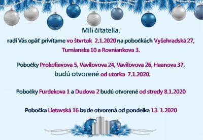 Otváracie hodiny pobočiek cez vianočné a novoročné sviatky