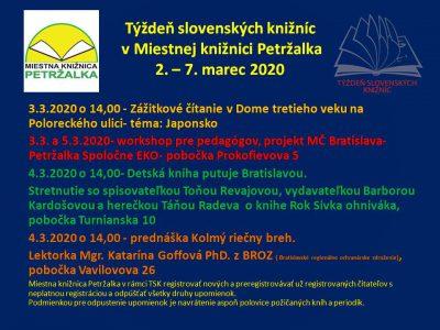 Týždeň slovenských knižníc od 2. – 7. marca 2020