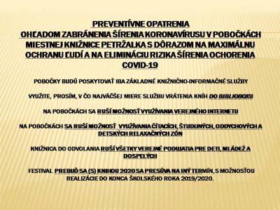 Preventívne opatrenia ohľadom zabránenia šírenia koronavírusu v pobočkách Miestnej knižnice Petržalka