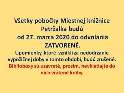 Zatvorenie všetkých pobočiek od 27.3. 2020 do odvolania