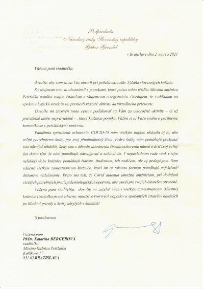 Poďakovanie pri príležitosti Týždňa slovenských knižníc